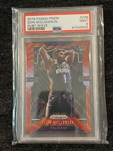 2019-20 Panini Prizm Zion Williamson Ruby Red Wave PSA 9 Rookie RC Pelicans 📈📈