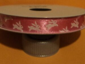NEW ITEM--1.5 inch wide Grosgrain Ribbon--3 Yards--Rabbit Bunny--White with Pink