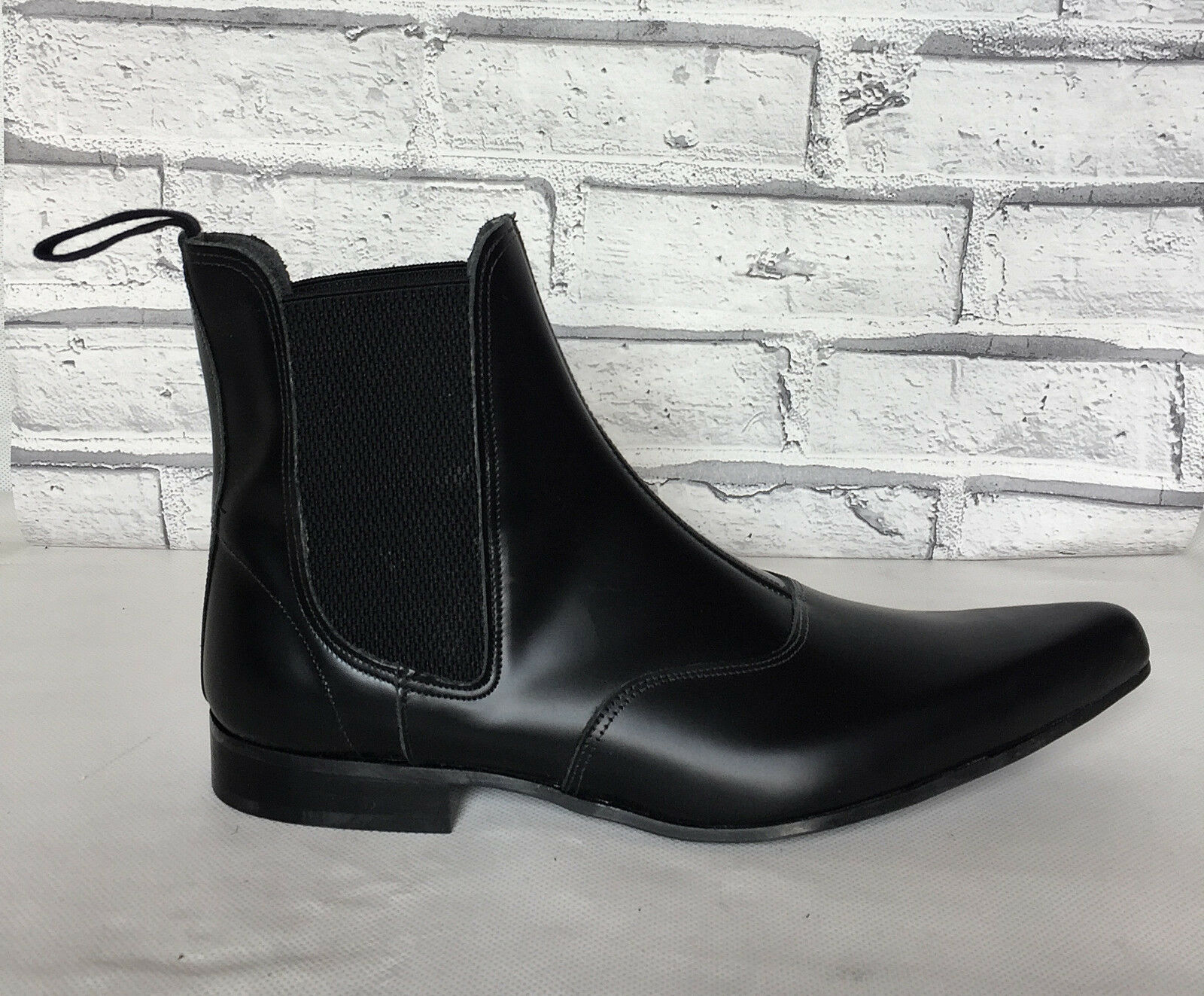 Uomo Nero Pelle Stivali Mocassini Beatles Gusset Chelsea Beatles Mocassini Boots 1d1634