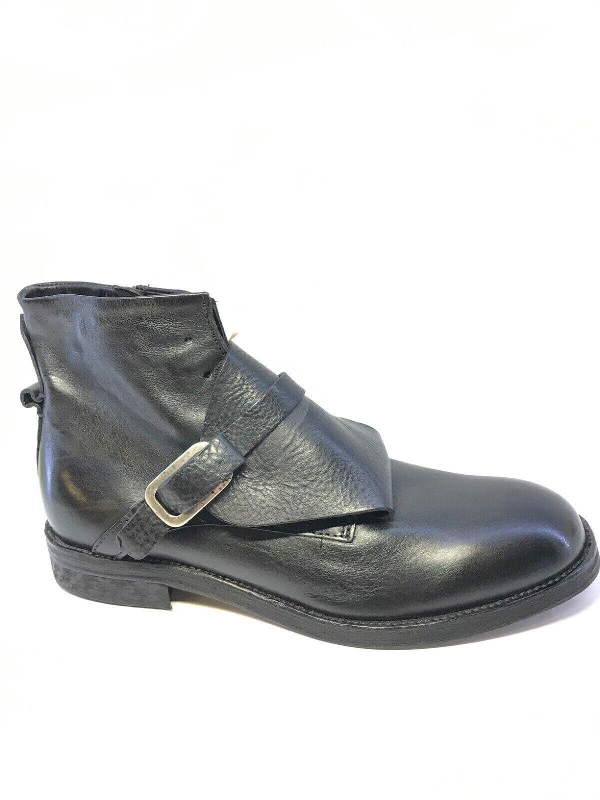 A.S.98 Uomo Nero Stivali In Pelle Dettaglio Fibbia EUR 44