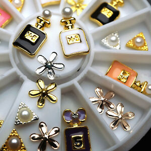 18X-6cm-3D-Nail-Art-Perfume-Decoration-Alloy-Pearl-Jewelry-Wheel-Decoration-New