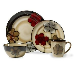 Image is loading 16-Piece-Poppies-Dinnerware-Set-Kitchen-Plates-Dishes-  sc 1 st  eBay & 16 Piece Poppies Dinnerware Set Kitchen Plates Dishes Bowls Cups ...