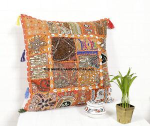Handmade Vintage Patchwork Ethnique Indien Pouf Boho Coussin Housse 50x50cm