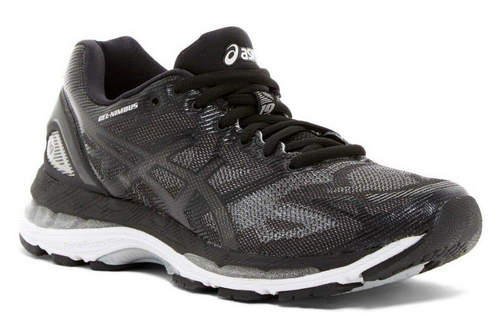 NIB ASICS Women's Gel-Nimbus 19 Running Shoe Sneaker Black/Onyx/Silver Sz 6