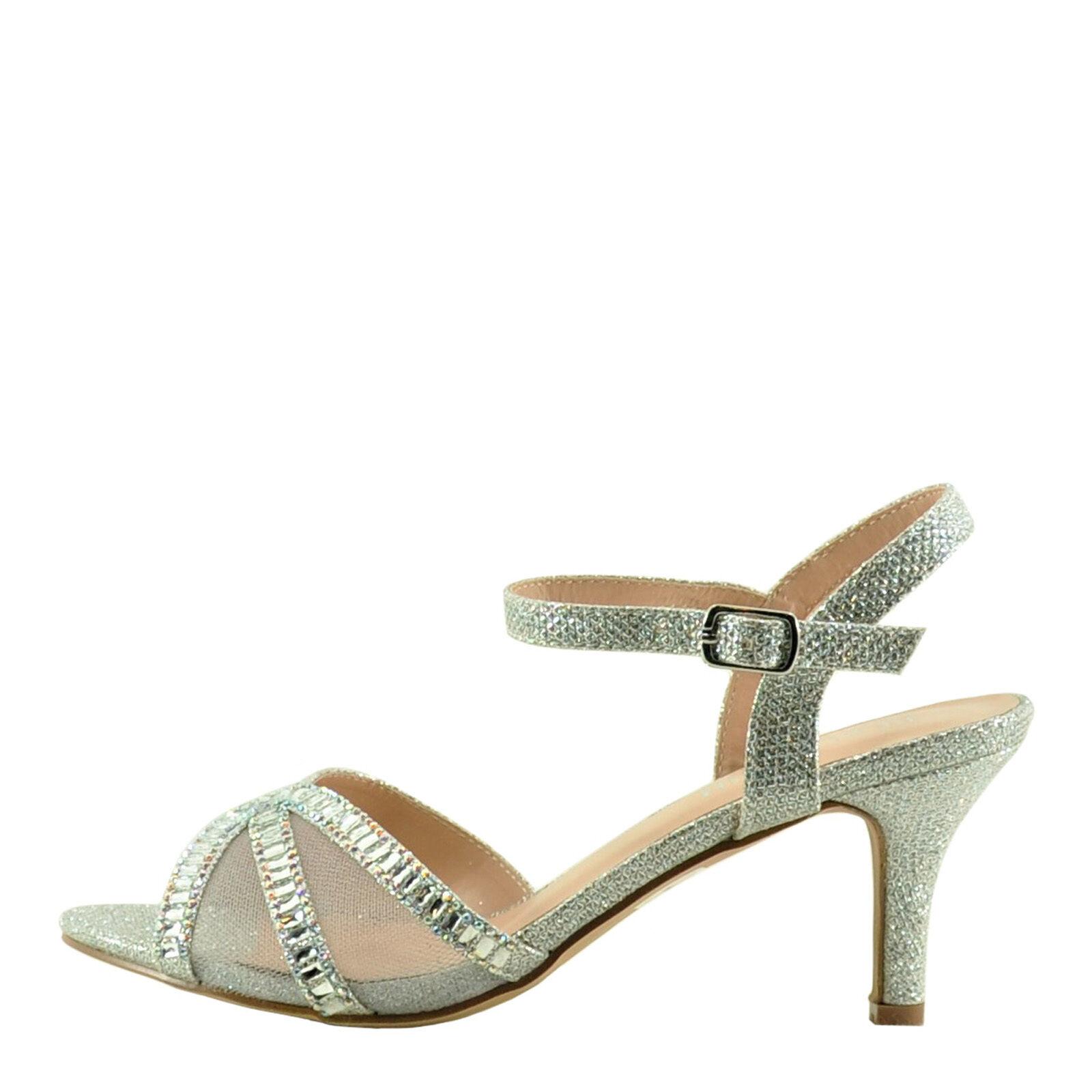 Blossom Vero 56 Silver Women's Peep Toe Mesh Crystal Embellished Heel