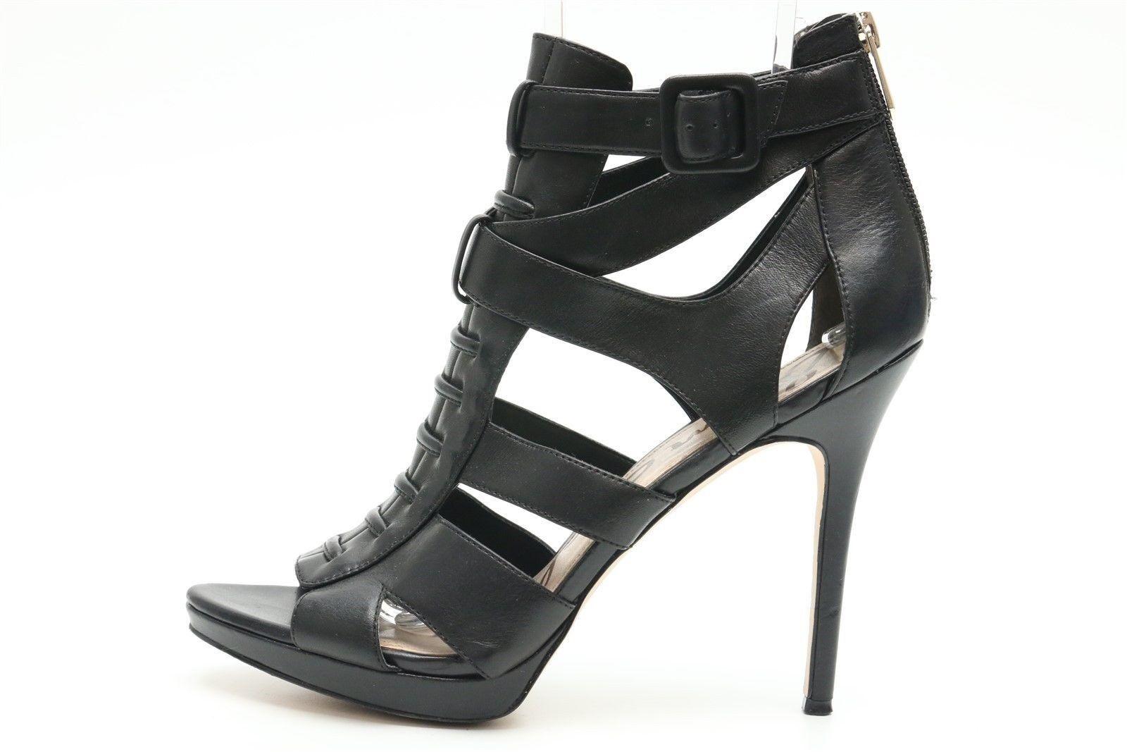 SAM EDELMAN EMLYN 217453 noir leather ankle cuff strappy sandals heels sz 8.5