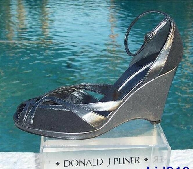 Donald Pliner Couture Black Suede Pewter Leather Wedge shoes Peep Toe  260 NIB 10
