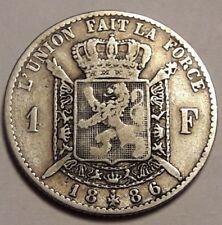 BELGIQUE LEOPOLD II 1 FRANC 1886 FR TTB Belgïe Frank