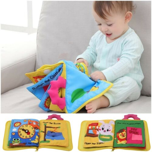 Baby Developmental Cartoon Cloth Book Bed Cognize Animals Kid Toys Funny Gift QL