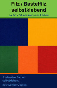 SELBSTKLEBENDER-Filz-Dekofilz-Bastelfilz-in-5-Farben-Basteln-Dekoration-Hobby