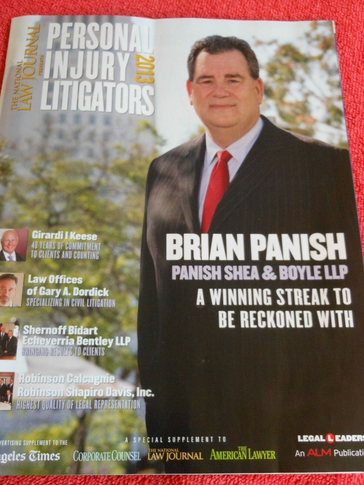NATIONAL LAW JOURNAL PERSONAL INJURY LITIGATORS 2013 BRIAN PANISH 1
