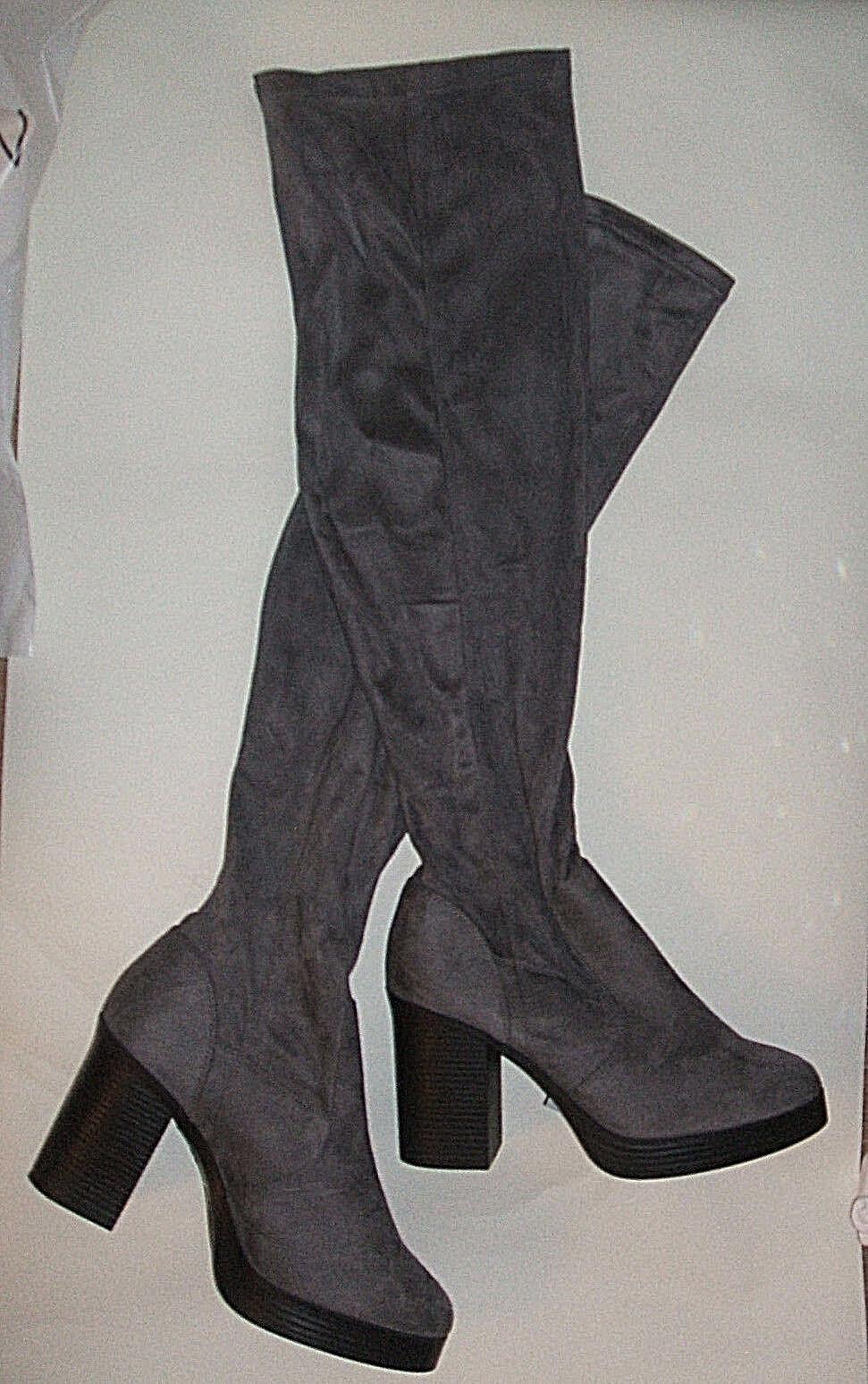 NEW LOOK damen Größe 8 42 grau DEBBIE SEXY FX SUEDE OVER KNEE HIGH THIGH Stiefel