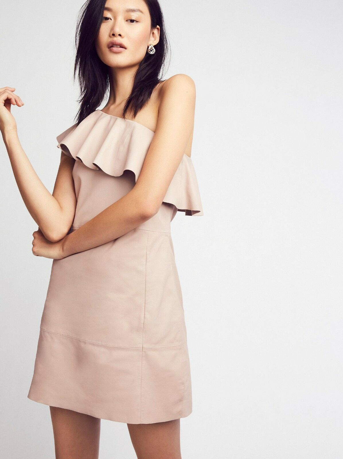 NEW Free People  350 Dusty pink Natalie One Shoulder Leather Mini Dress Size S