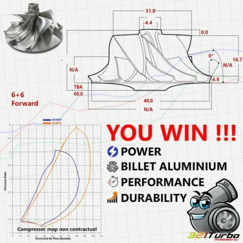 6+6 Fiat MFS KTS F301 31//40mm BILLET Compressor Wheel Turbo IHI VL20 VL36 RHF3
