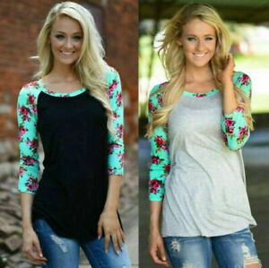 New-Women-039-s-Lady-Crew-Neck-Loose-Tee-Tops-Splicing-Floral-Blouse-Casual-T-Shirt