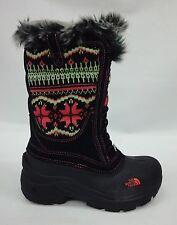 North Face Girls/Kids Shellista Lace Boots A1C5 TNF Black/Sea Coral Orange Sz 1