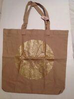 Victorias Secret Tan Medium Canvas Tote Book Bag Lightweight Crystals Bling