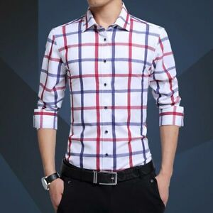 Business-Casual-Fashion-Luxury-Shirt-Stylish-Men-039-s-Long-Sleeve-Tops-Dress-Shirts