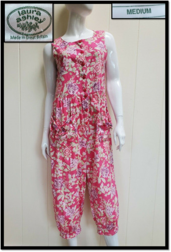 Vtg 80's Laura Ashley Jumpsuit Romper Pink Romanic