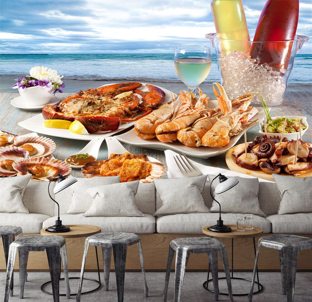 3D Seafood feast Wall Paper Print Wall Decal Deco Indoor Wall Murals