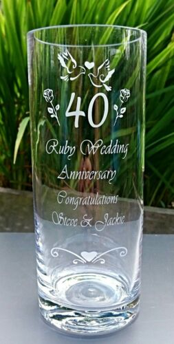 Ruby Personalised Engraved Wedding Anniversary Vase Silver Golden