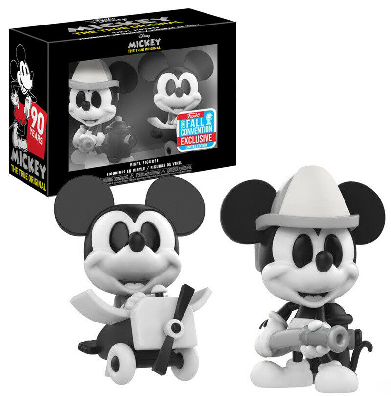 NYCC EXCLUSIVE MICKEY MOUSE 90 YEARS MINI FIGURE 2PK FIREFIGHTER & PLANE CRAZY