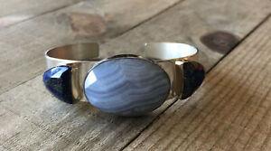 Turquoise Bracelet Gemstone Bracelet Blue Lace Agate Bracelet Contemporary Jewellery Handmade Metalwork Sterling Silver Bracelet