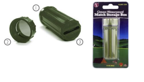 Green Waterproof Match Storage Box W// Flint and Signaling Mirror Camping Outdoor