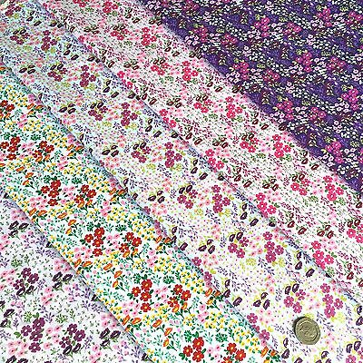 Floral PolyCotton Fabric Beautiful Wild Meadow Flowers - Rich Purple & Pink Tone