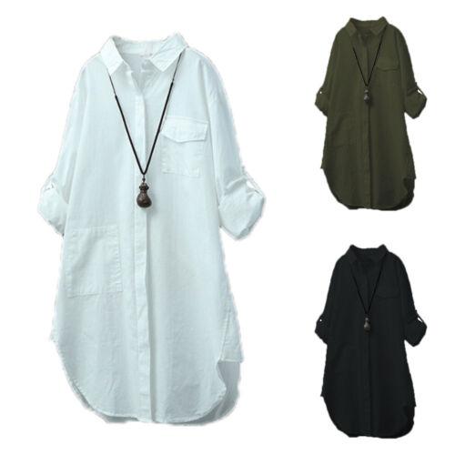 Damen Freizeit Hemdblusen Langarm Oberteil Top T-shirt Leinenbluse Tunika Hemden