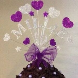 Image Is Loading PURPLE HEARTS BIRTHDAY CAKE TOP TOPPER ANY NAME