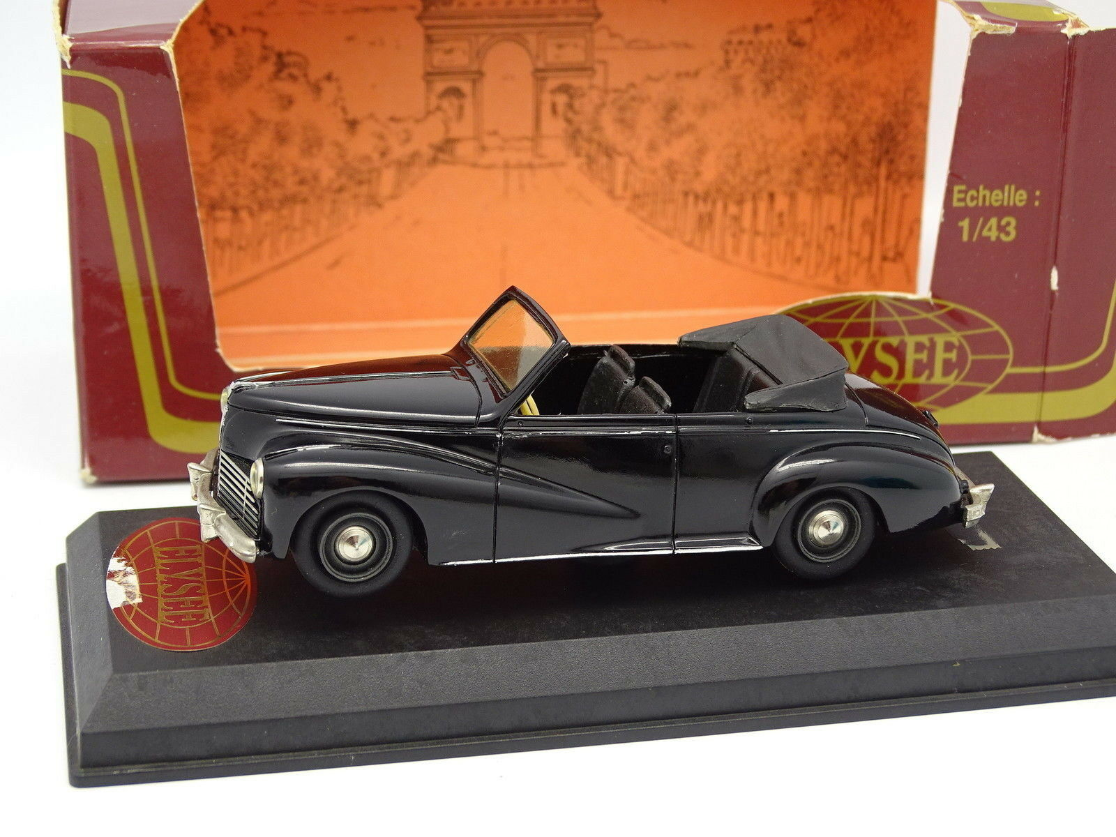 Elysée Résine 1 43 - Peugeot 203 Cabriolet 4 Places Noire 1950