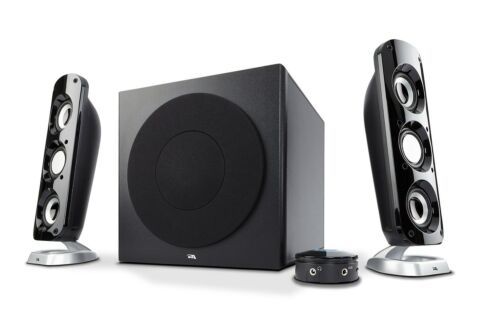 Cyber Acoustics CA-3908 3 Piece Flat Panel Design Subwoofer and Satellite Spe...