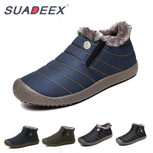 Mens-Winter-Snow-Ankle-Boots-Slippers-Fur-Lined-Outdoor-Waterproof-Warm-Shoes-US