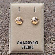 Neu OHRSTECKER 8mm SWAROVSKI STEINE light peach/pfirsichfarben/pfirsich OHRRINGE