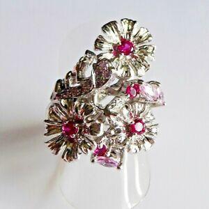 Unikat Eleganter Pink Saphir Rubin Blüten Ring 925er Sterlingsilber 17,2 mm 54