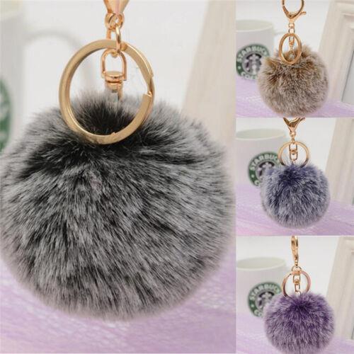 Women Bag Key Chains Pom Poms Ball Keychain Keyring Bag Charm Pendant  J7