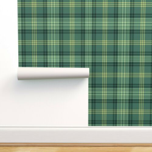 Removable Water-Activated Wallpaper Gingerbread Tartan Green Ross Hunting