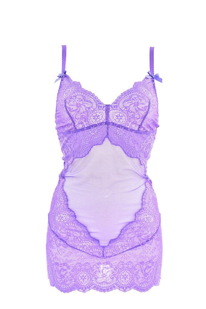 L'Agent By Agent Provocateur Women's Sheer Floral Slip Purple RRP  BCF88