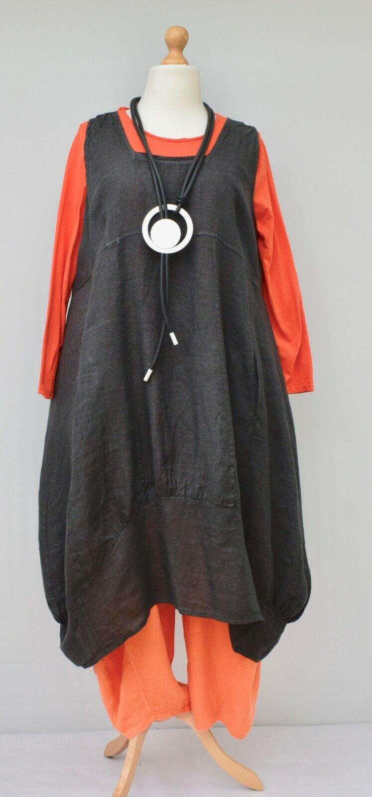Übergröße Leinen Einfarbig 2 Taschen Langes Kleid Dunkelgrau XL-XXL 52-54