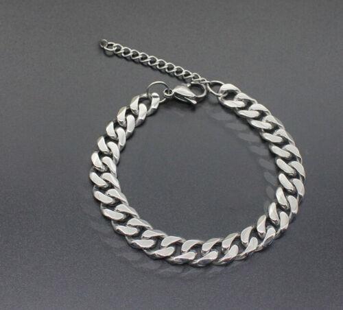 Cadena pulsera extra 7mm Dick plata acero inoxidable cadena cadena de tanques para hombres caballeros