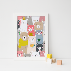 Cute-Animal-Print-Picture-for-Nursery-Childs-Kids-Children-039-s-bedroom