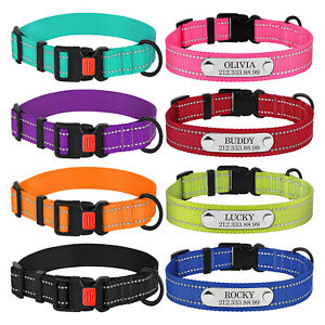 Reflective-Nylon-Dog-Collar-Personalised-Pet-Collars-with-Buckle-and-Pet-ID-Name