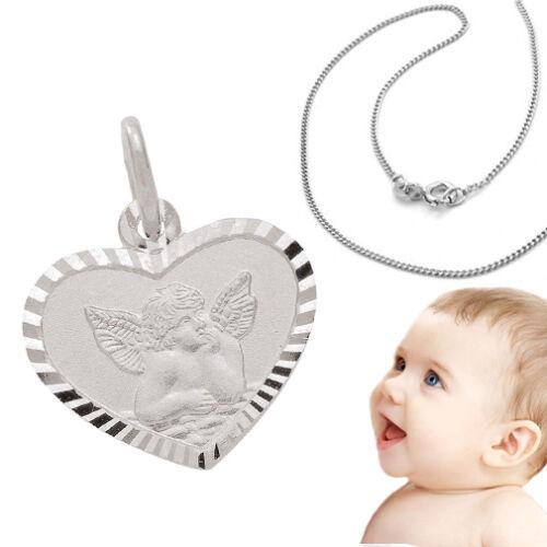 Kinder Weiß Gold 333 Herz Anhänger mit Engel und Namen Gravur & Kette Silber 925