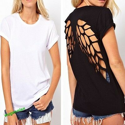 Women Girl Backless Casual Hollow Wing Back Crew Neck Blouse Tops Solid T-Shirt