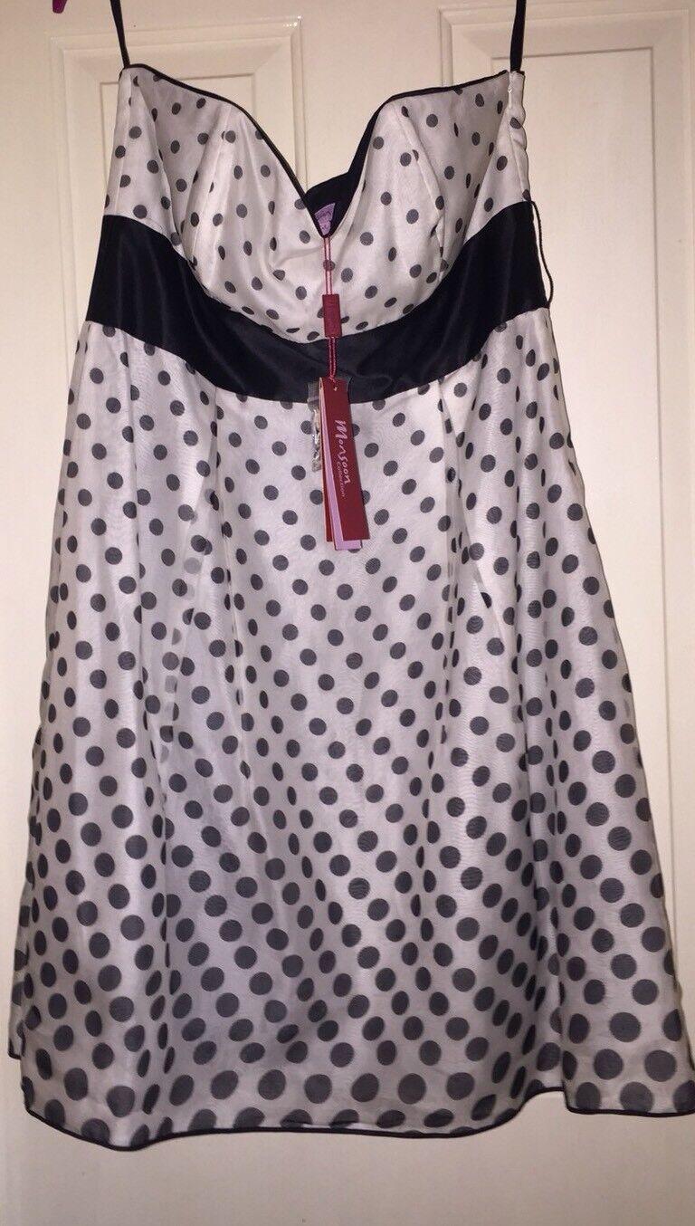BNWT Monsoon Silk Strapless (Straps Included) Spotty Dress, Size 14 - Fab
