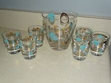 Federal Glass Co Atomic Amoeba Boomerang Turquoise Gold Shot Whiskey Glasses EUC