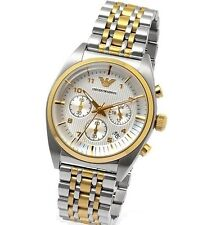 BRAND NEW EMPORIO ARMANI TWO TONE STAINLESS STEEL CHRONOGRAPH MEN WATCH AR0396