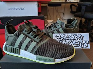 Details about Adidas NMD_R1 Nomad Boost Olive Green Khaki Volt Neon White Running Men's CQ2414