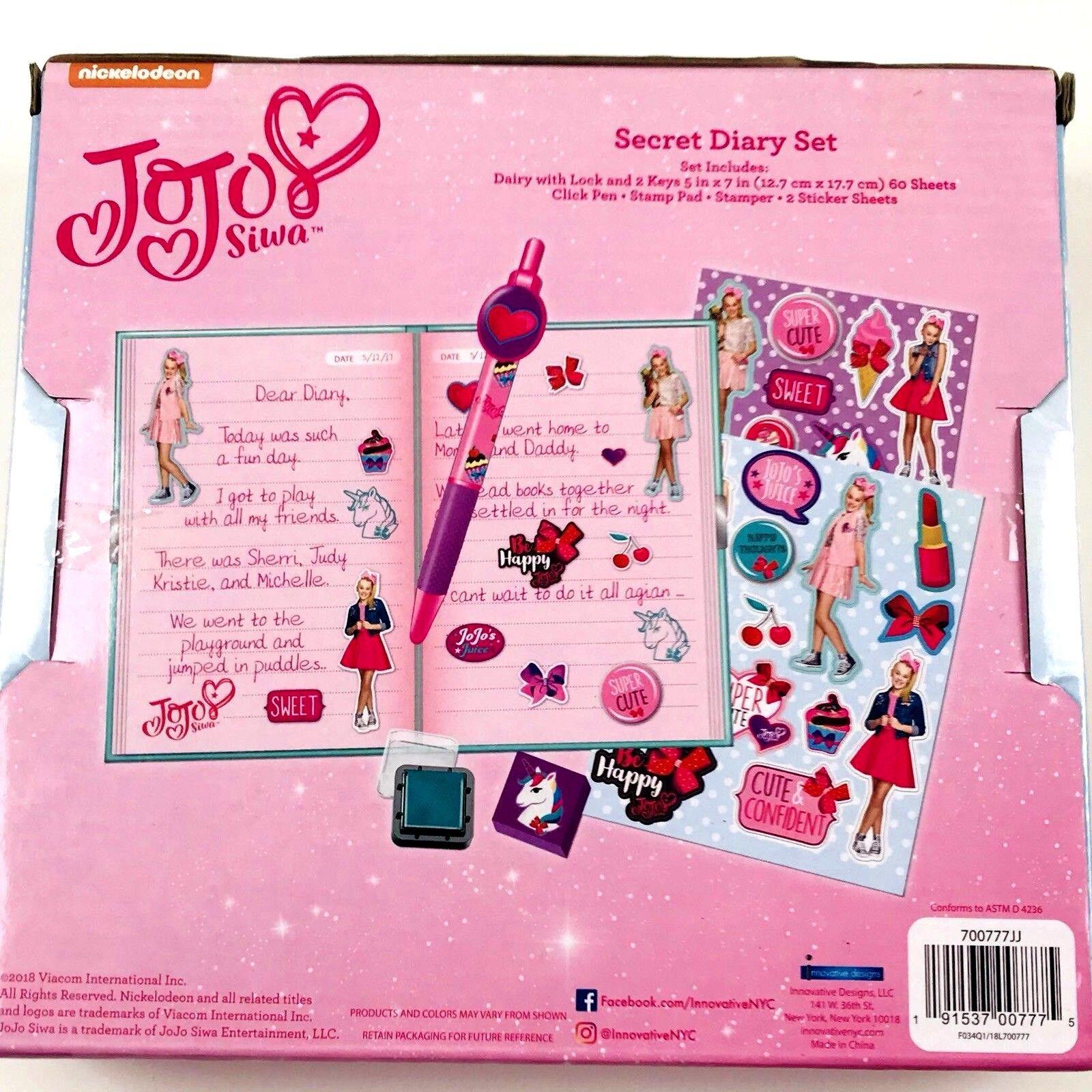 Nickelodeon JoJo Secret Diary Set for Girls,Aqua,10 x 6 in